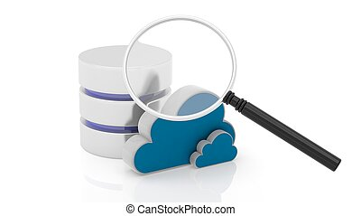 Database, cloud and magnifier icons isolated on white...