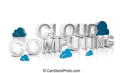 Cloud Computing silver text with cloud icons, isolated on...