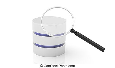 Database and magnifier icons isolated on white background.