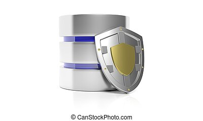 Database and shield icons, isolated on white background.