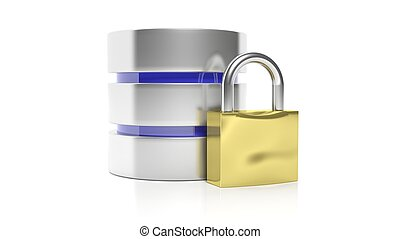 Database and lock icons, isolated on white background.