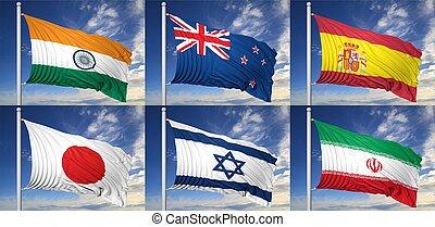 cobrança, de, seis, Bandeiras, Índia,...
