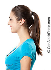 Brunette with ponytail