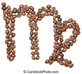 virgo zodiac sign of coffee beans isolated on white