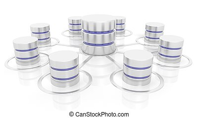 Network database icons isolated on white background.
