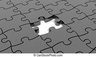 Abstract background with black puzzle pieces one piece...