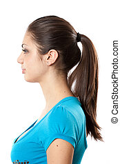 Brunette with ponytail - Profile of an attractive brunette...