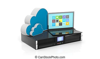 Server rack, cloud and laptop icons isolated on white...