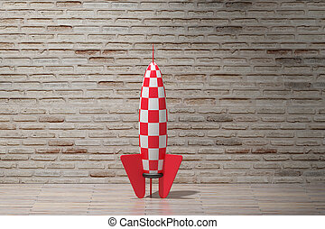 rocket - 3d rendering of a red and white rocket on an empty...