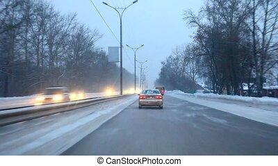 Winter road - Highway between Novosibirsk and Akademgorodok,...