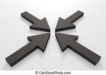 Black arrows - 3d rendering of some black arrows on a white...