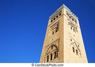 history maroc minaret religion and blue sky - in maroc...
