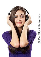 Brunette with headphones