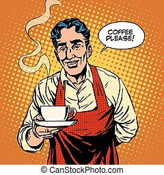Barista hot coffee pop art retro style Cafe the waiter...