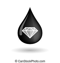 Vector oil drop icon with a diamond - Illustration of a...