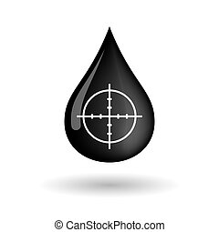 Vector oil drop icon with a crosshair - Illustration of a...