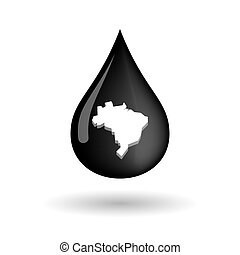 Vector oil drop icon with  a map of Brazil