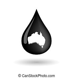 Vector oil drop icon with  a map of Australia