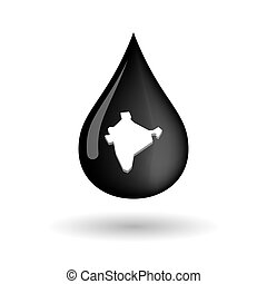 Vector oil drop icon with  a map of India