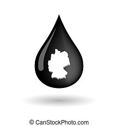 Vector oil drop icon with  a map of Germany