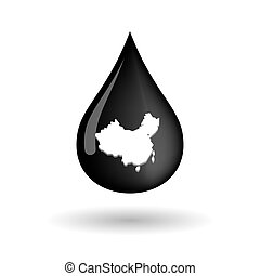 Vector oil drop icon with  a map of China