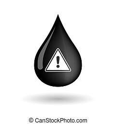 Vector oil drop icon with a warning signal