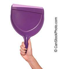 dustpan in female hands on a white