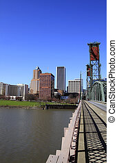 Crossing the Bridge to Portland Downtown - Crossing the...