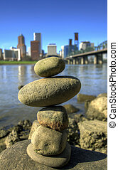 Balancing Rocks against City Skyline of Portland Oregon