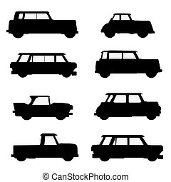 Set of classical cars. - Set of silhouettes of classical...
