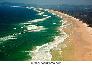 Hill Top View ofWaves Crashing on Beach in Byron Bay AU -...