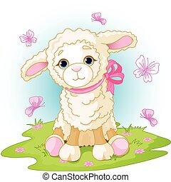 Easter lamb - Spring background with Easter lamb and flowers