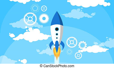 Cartoon Rocket Fly Blue Sky White Clouds Flat Design Loop,...
