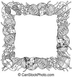 frame of leaves - Beautiful square frame of zentangle...
