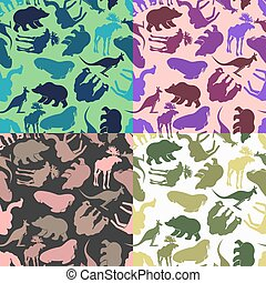 Set animal pattern. Color options from ornaments of wild animals. Textures for baby tissue.