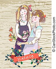 Retro girls vintage card with flowers frame - vector...