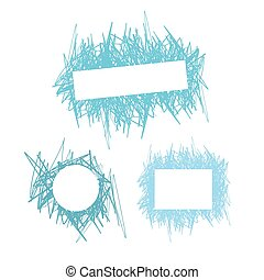 Doodle abstract hand-held line with space for text. Set of...