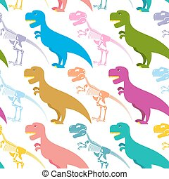 Dinosaur and skeleton seamless pattern. Tyrannosaurus t-Rex and bones background. Colorful predator. Ancient Creeper. Skeleton of an ancient monster. Texture for baby tissue.