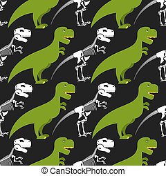 Dinosaur skeleton and seamless pattern. Green prehistoric monster with a skull and crossbones. Texture for baby tissue. Ornament of ancient reptile.