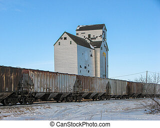Grain Elevator and Annex with Train
