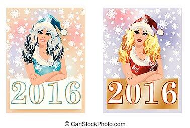 feliz, 2016, nuevo, año, cartel, tarjetas,