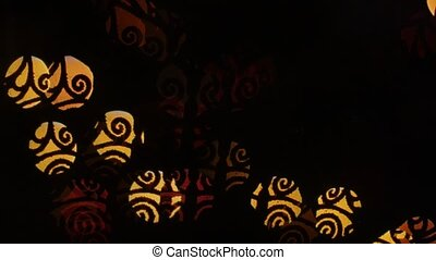 Whorl lights bokeh on black background Shape - Abstract...