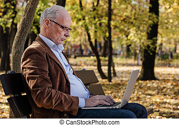 old businessmen working at laptop outside on a bench - old...