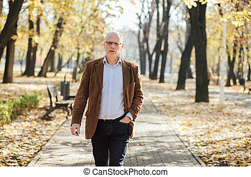 elegant old men walking relaxed in park