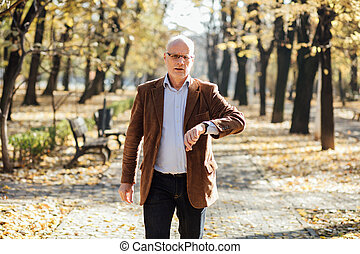elegant old men walking relaxed in park an checking hour