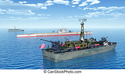 Torpedo boats and submarine - Computer generated 3D...