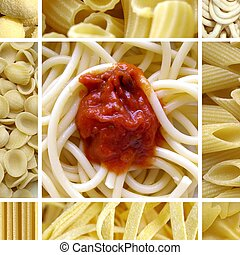 Pasta collage including 9 pictures of food