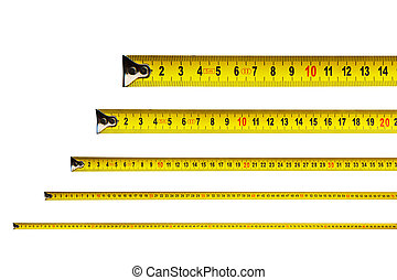 Tape measure in centimeters on white background