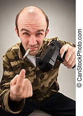 Impudent bandit with gun - Smoking impudent bandit with gun...