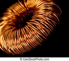 Electrical copper transformer - Closeup of electrical copper...